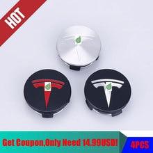 Dla Tesla Model 3 S X koło ze stali nierdzewnej nakładki środkowe pokrywa piasty Logo znaczek 4 sztuk