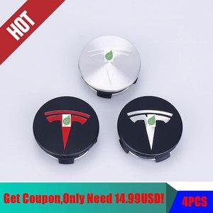 Image 1 - Para tesla model 3 s x roda de aço inoxidável centro tampões hub capa logotipo emblema 4 peças