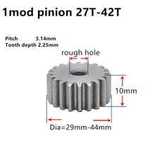 Mod1-Gear-Rack Spur-Gear Pinion Customized Teeth-42 Cylindrical 10mm 27 No-Hardened-Thickness