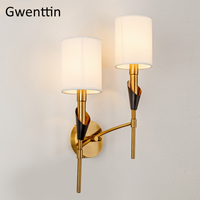 Nordic Gold Wall Lamp Fabric Lampshade Loft Led Wall Light Sconce for Home Bedroom Stair Indoor Decor Light Fixtures Luminaire LED Indoor Wall Lamps    -