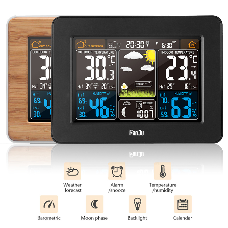 Wireless Weather Station Wall Digital Clock Barometer Thermometer Hygrometer Sensor Forecast Colorful LCD Display