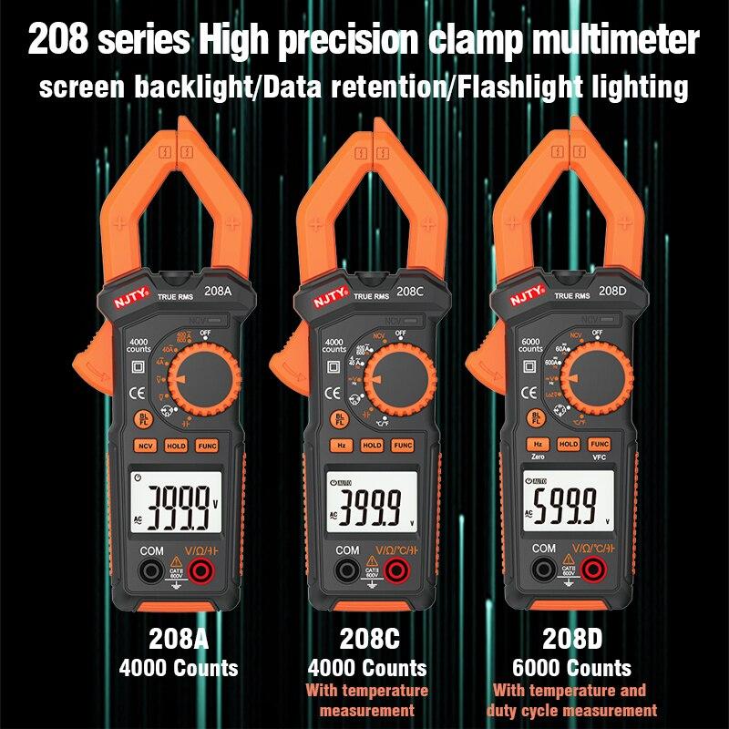 Seria 208 cyfrowy miernik cęgowy prąd DC/AC 6000 zlicza multimetr amperomierz Tester napięcia samochód Amp Hz pojemność NCV Ohm Test