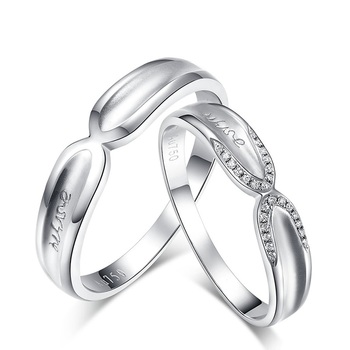 Diamond 18K White Gold Wedding Bands Engagement Couple Rings Handmade Diamond Jewelry 1
