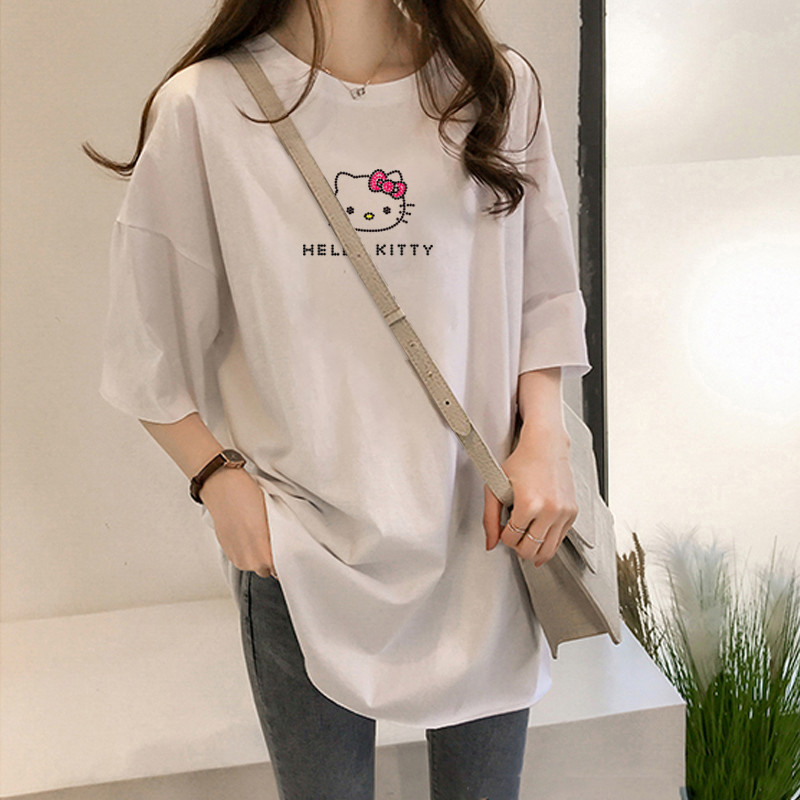 Y3075 2020 Summer Women T-shirt Girls Harajuku Hello Kitty Print Top TShirt Short Sleeve O Neck White Tshirt Camiseta