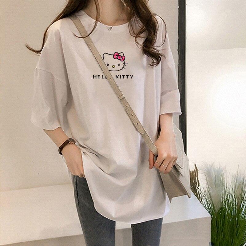 Y3075 2020 Summer Women T-shirt Girls Harajuku Hello Kitty Print Top TShirt Short Sleeve O Neck White Tshirt Camiseta