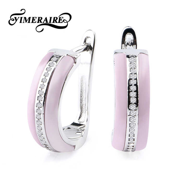 Elegant Lady U Shaped Earrings Black White Pink Ceramic For Girl Women With One Row Crystal Silver Metal Christmas New Year Gift