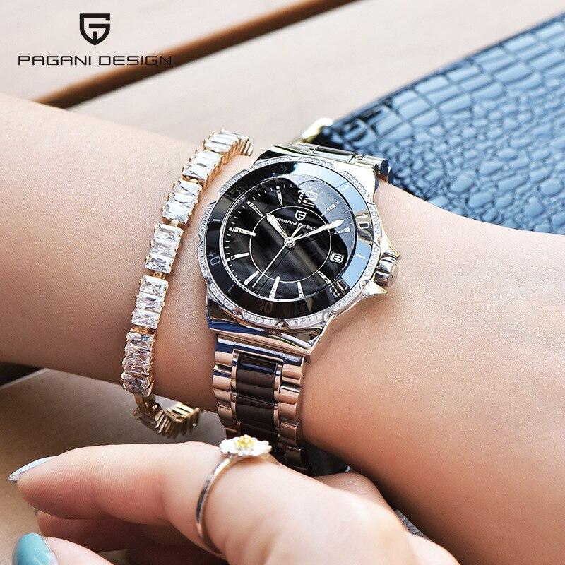 PAGANI DESIGN Top Brand Women Business Japan Quartz Watches Fashion Casual Ceramics Chronograph Calendar Waterproof Wristwatch