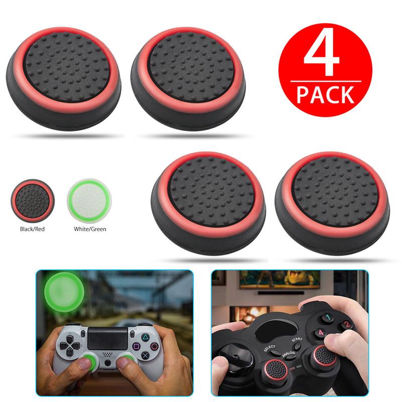 4pcs Silicone Analog Thumb Stick Grips Cover for Xbox 360 One Playstation 4 For PS4/PS3 Pro Slim Gamepad Cap Joystick Cap cases(China)