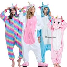 Nowe zwierząt jednorożec piżamy dorosłych zima piżamy Kigurumi Stitch Panda Licorne piżamy kobiety Onesie Anime kostiumy kombinezon tanie tanio sumioon Poliester Cartoon unicorn pajamas Flanelowe Unisex Pasuje prawda na wymiar weź swój normalny rozmiar pijama unicornio