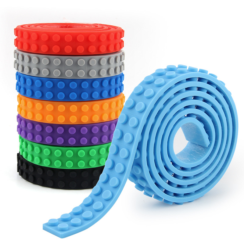 100cm DIY Plastic Loops Block Toy 248 Dots Adhesive Plastic Tape Building Block Base Plate Sticky Backing Tape Toys For Children