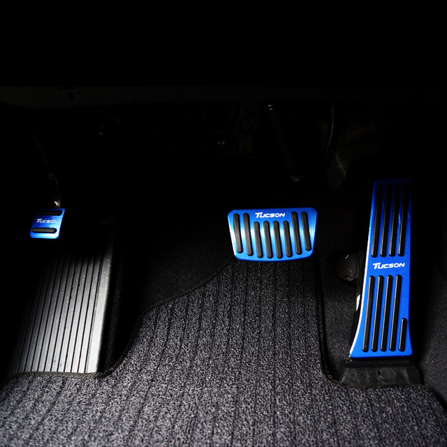 Aluminum Car Accelerator Fuel Brake Pedal Clutch Pedals Plate Covers Non Slip Pads For Hyundai Tucson 2015 2016 2017 2018 2019