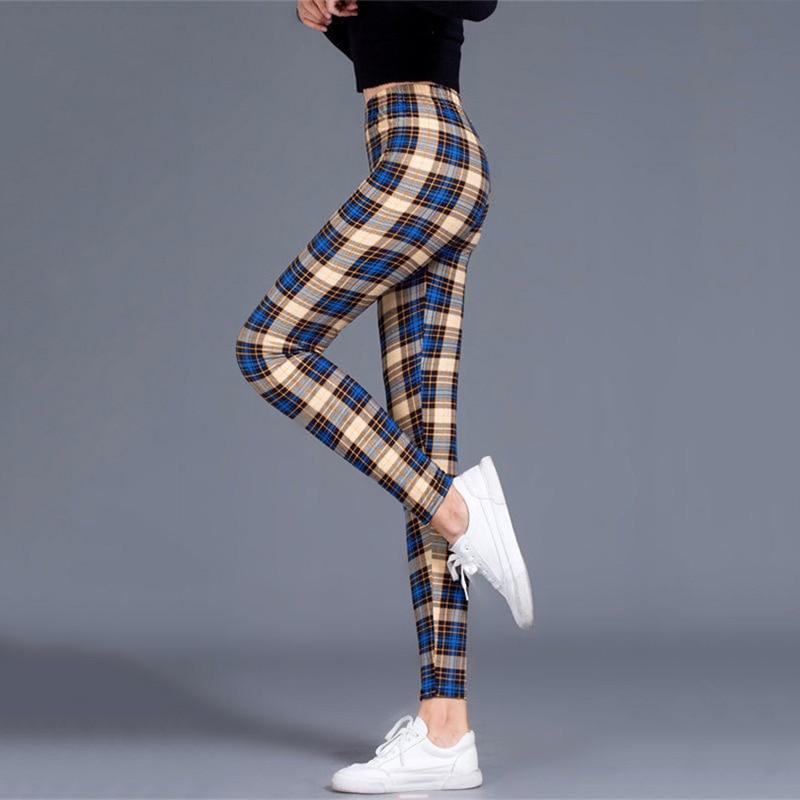 Plaid Leggings Women Sexy Pants Push Up Leggings Fashion Fitness Leggins Gym Sporting Plus Size High Waist Trousers 2