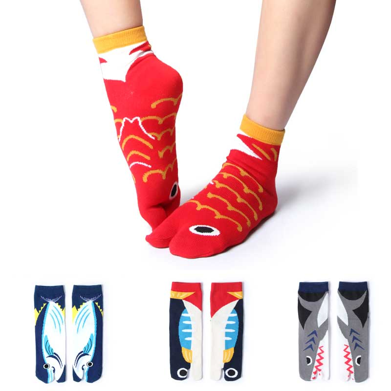 Cartoon Ocean Fish Shark Cotton Two Toe Socks Couple Split Toe Socks Japan Two Finger Socks Tabi Socks