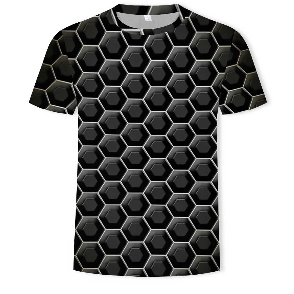 Camiseta con estampado de colores 2019 para hombre Camiseta divertida ilusión gráficos en blanco y negro cuello redondo pulóver hombres/mujeres camiseta 3D hombre