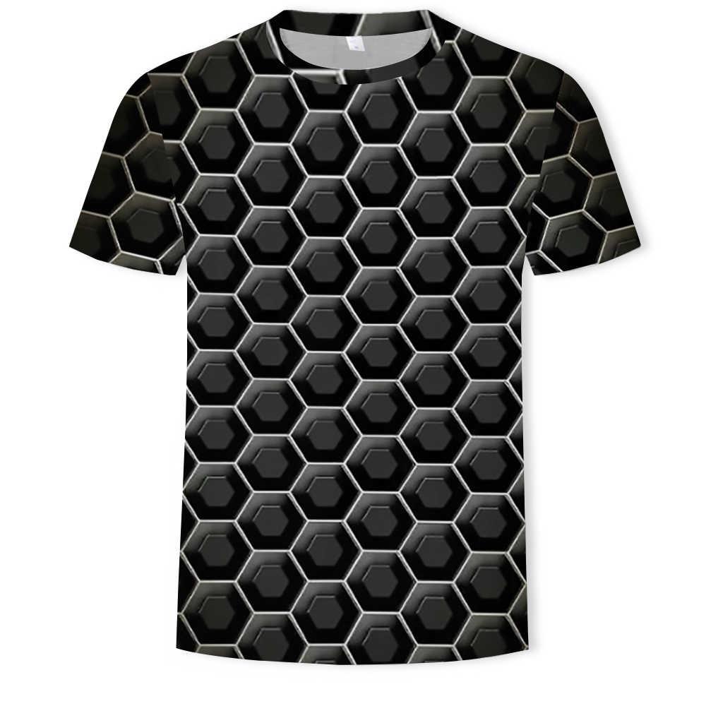 Warna-warni 2019 Cetak T-shirt Lucu T-shirt Ilusi dan Grafis Pullover Leher O Pria/Wanita 3D T-shirt hombre