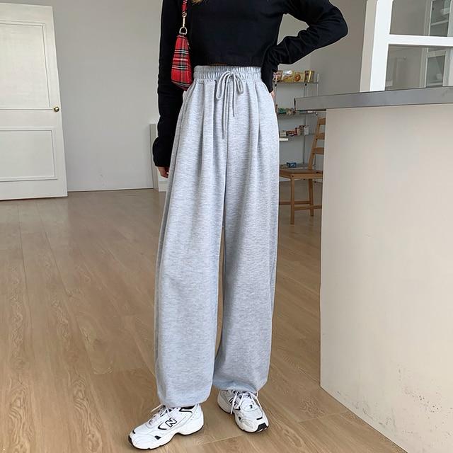 Slacks Women s Loose Summer Pants Soft Wide Leg Pants Grey black Women High Waisted Trousers