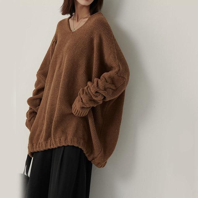[EAM] Big Size Oversize Knitting Sweater Loose Fit V-Neck Long Batwing Sleeve Women New Fashion Tide Autumn Winter 2019 1B621 31