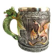 Подарочная чашка с 3d-рисунком, ручная роспись, кружка для пива, кухни, ретро, чая, из нержавеющей стали, вечерние кружки с драконом, кофе