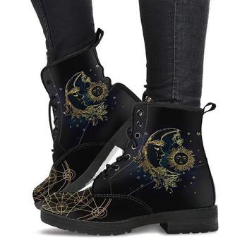 Damskie skórzane buty słońce księżyc buty skórzane buty damskie damskie wegańskie buty damskie zimowe buty kalosze buty Cowgirl tanie i dobre opinie xuanmeilun Płaskie z Buty motocyklowe Lakierowana skóra CN (pochodzenie) Zima ANKLE Nowość SZTUCZNE FUTRO Stałe AL162