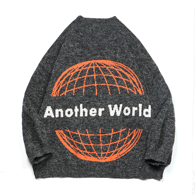 Cotton 100% Sweater Men Printed Another World Jersey Jumper Hombre Pullovers Male O-neck Thick Knitted Sweaters