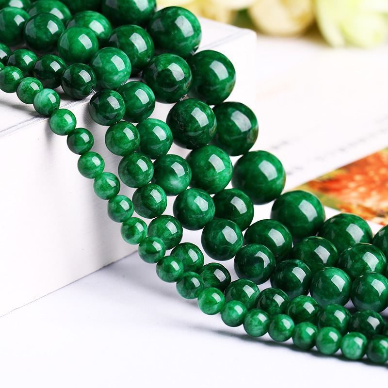 Natural Myanmar Jadeite Jade Beads Women's Real Green Jade Beads Bracelets  For Men  Women Jade Gift Beads 6mm-12mm