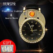 цена на Cigarette Lighter Watch Men quartz Watches USB Charging Luxury diamond dial Casual Wristwatches Windproof Lighter clock JH391-2