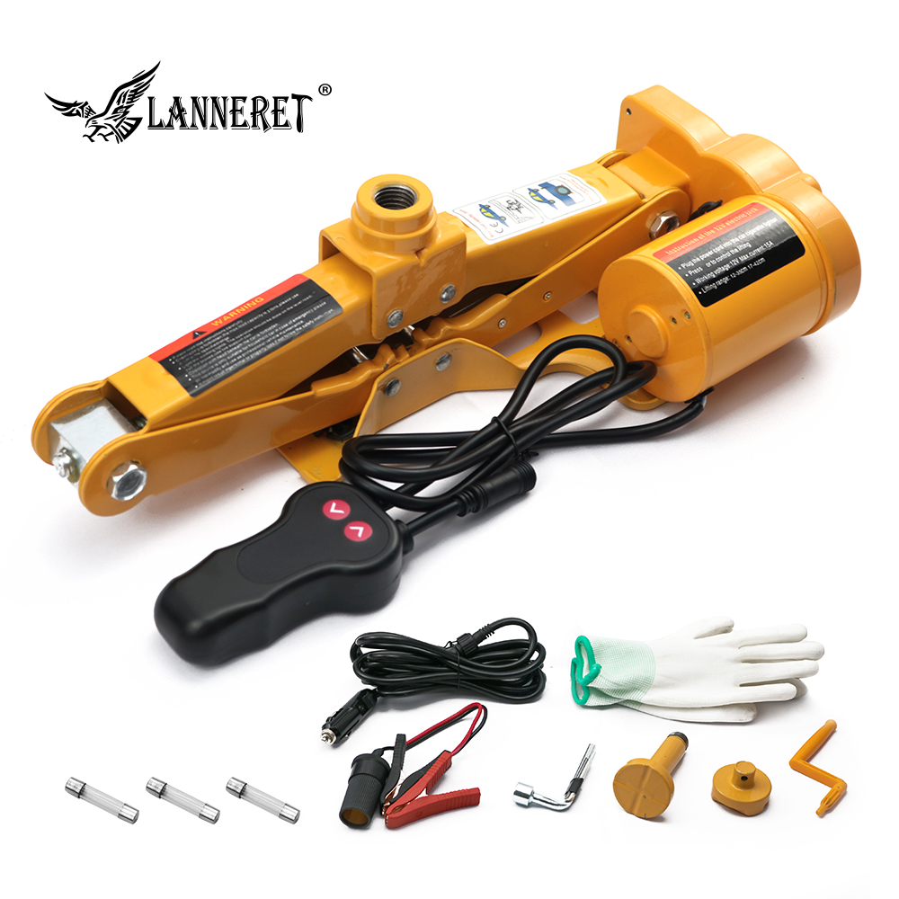 LANNERET Electric Car Jack Set 3 Ton DC 12v All-in-one Automatic Sedan Lift Scissor Jack Car Repair Tool