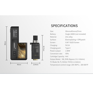 Image 2 - הכי חדש Smoant אביר 80W ערכת Vape Pod דואר סיגריה ערכת יחיד 18650 בת רשת סליל 0.3ohm 0.4ohm עם 0.96 אינץ OLED מסך תיבת Mod קיט