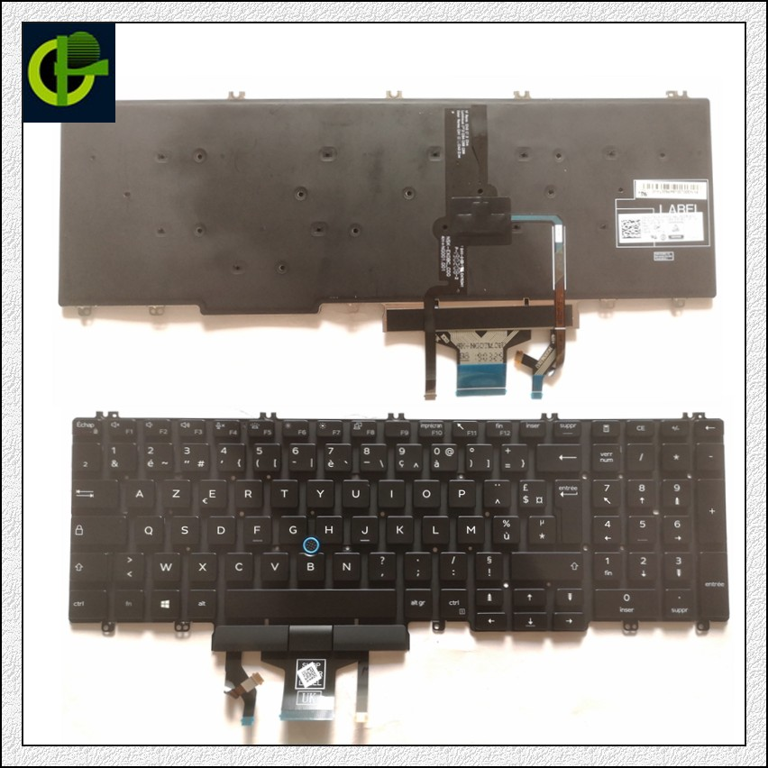 French Backlit Azerty Keyboard for <font><b>Dell</b></font> Precision <font><b>3500</b></font> 3501 3540 3541 Latitude 5500 5501 2019 mmh7v laptop FR image