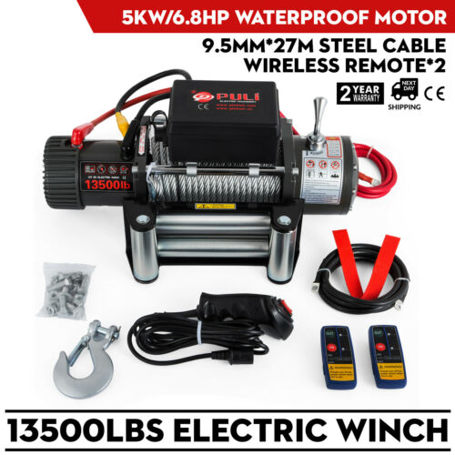 Electric Winch Offroad 4x4 Motor Winch Cable 12V 13500lbs 6123.5KG 5KW