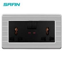 SRAN-enchufe universal de tres agujeros para hogar/hotel, indicador LED, panel de acero inoxidable, 146mm x 86mm
