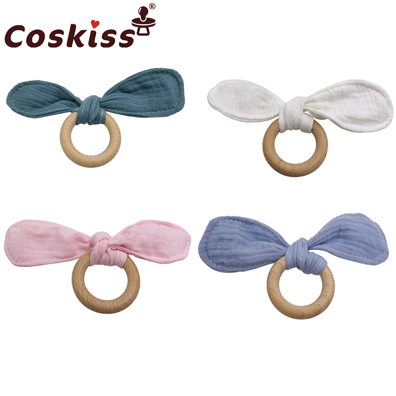 Coskiss 1PC Wooden Teether Bunny Ear Wooden Rings Baby Bib Cotton Towel For DIY Bracelet Pendant Nursing Newborn Baby Product