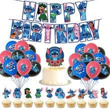 1 conjunto costurado fontes de festa dos desenhos animados feliz aniversário banner bandeira bolo toppers decorações menina menino brinquedo presente costura balões