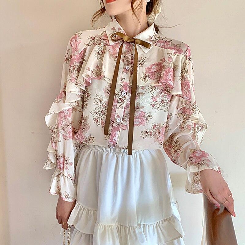 Floral Print Chiffon Shirts Women Cardigan Ruffles Blouses 2021 Autumn Puff Long Sleeve Korean Ladies Tops Blusas Mujer 10449 4