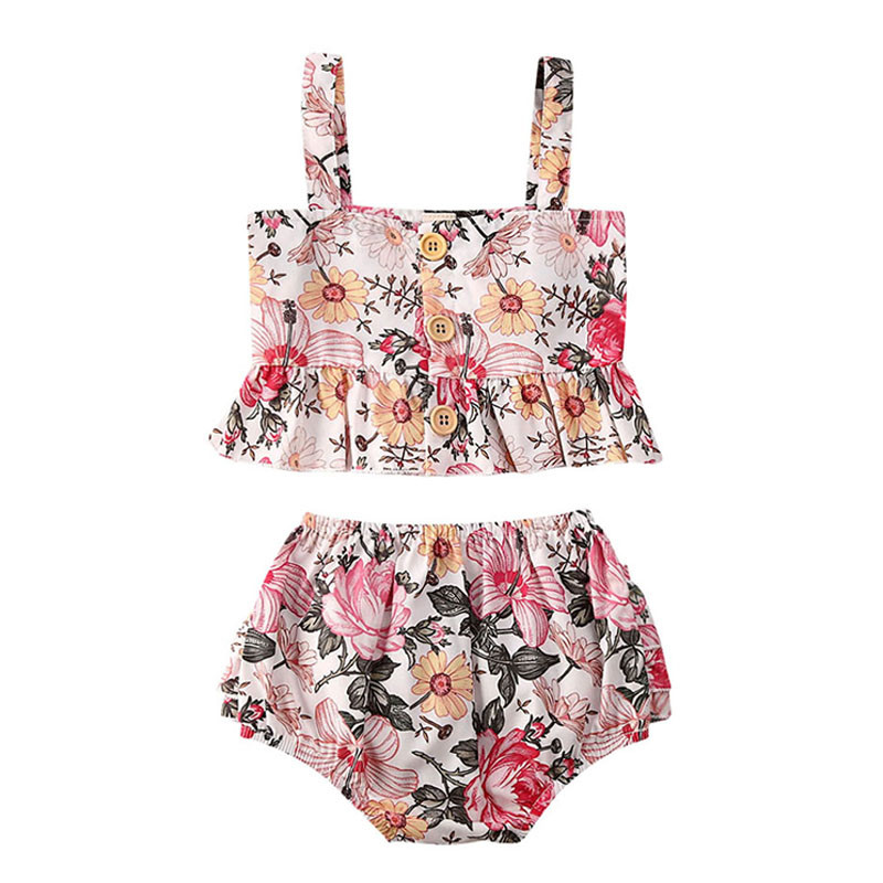 Toddler Girl Clothes 2020 Baby Girl Sleeveless Floral Clothes Top Bottoms Shorts 2Pcs Outfits Tracksuits Infant Clothing Set