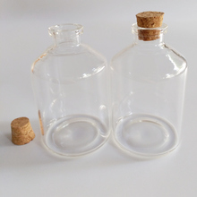 80ml glass bottle with cork large decorative bottles vials 47*70mm home clear jars 12pcs/lot
