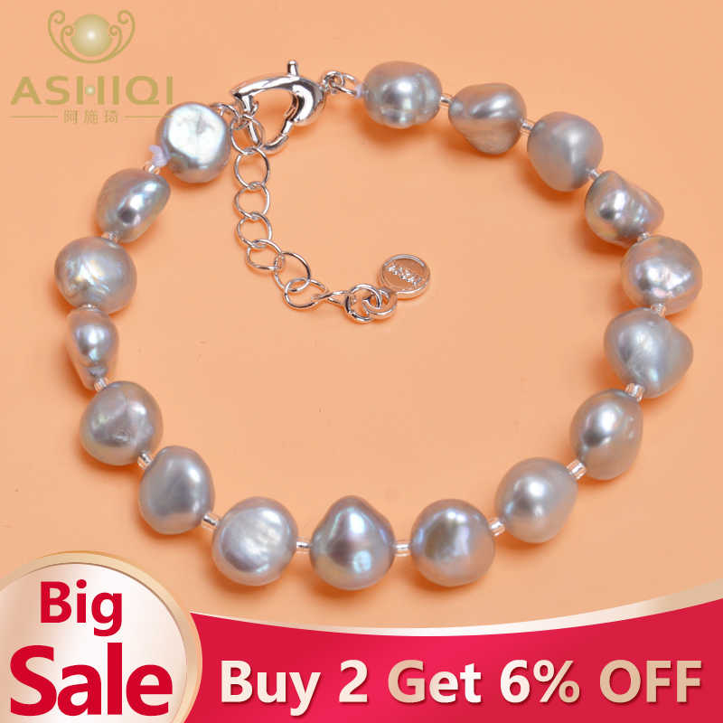 ASHIQI Genuine Natural Freshwater Baroque Pearl Bracelets Bangles For Women Black Gray  Gold plating Charm Jewelry