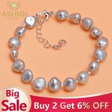 ASHIQI Genuine Natural Freshwater Baroque Pearl Bracelets Bangles For Women Black Gray  Gold plating Charm Jewelry