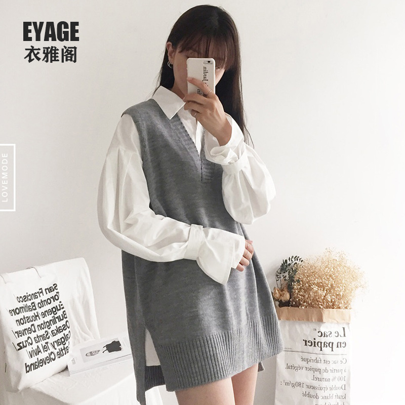 Early Autumn Clothing 2019 New Style Loose-Fit Sleeveless Knitted Vest Korean Casual Loose-Fit Pullover Versatile V-neck Vest Sw
