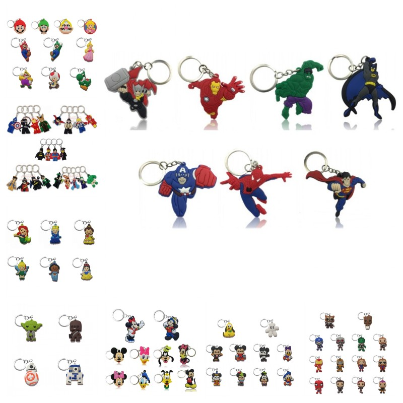 20pcs Avenger Star Wars Keychain Organize Cute Minnie Super Mario Key Ring Desk Accessories&Organizer Key Chain Kids Gift