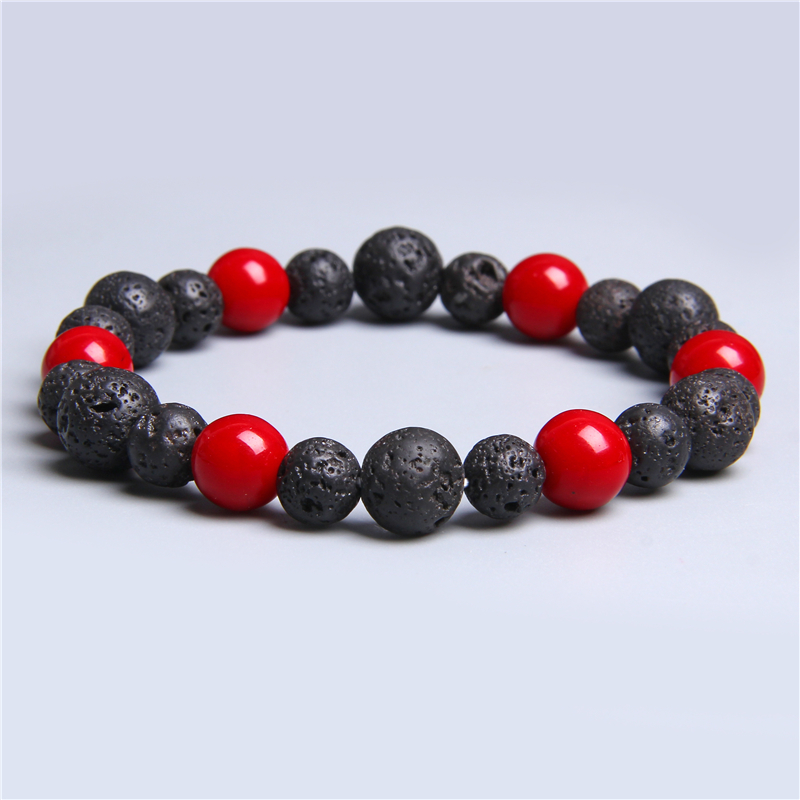 Natural Red Coral Beaded Bracelet Men Women Lava Stone Beads Bracelet Bangles Homme Buddha Male Jewelry Pulsera Christmas Gift