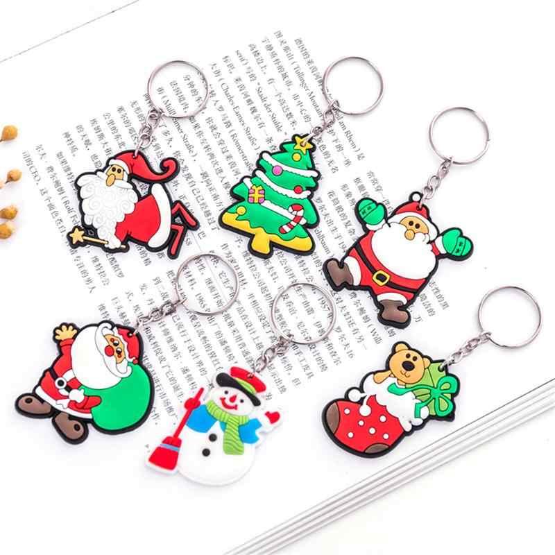 크리스마스 키 체인 만화 산타 클로스 눈사람 열쇠 고리 펜던트 쥬얼리 선물
