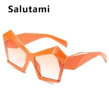 Unique Orange Square Cat Eye Sunglasses For Women New Brand Gradient Elegant Big Frame Sun Glasses Female Irregular Shades
