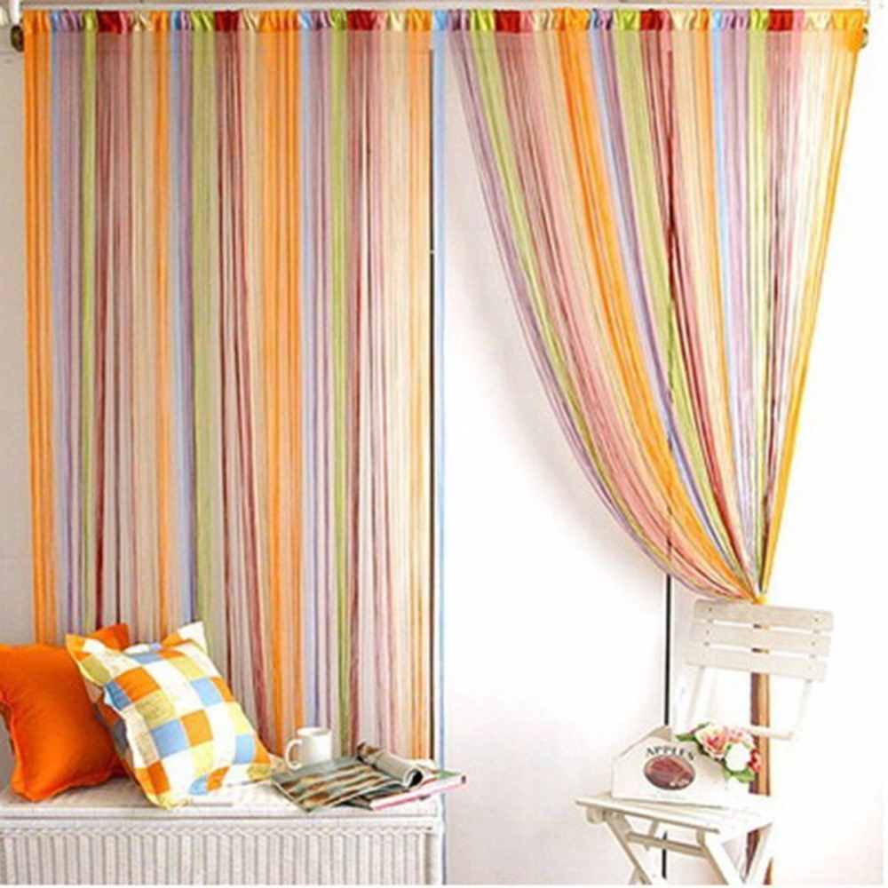 Rainbow Color Line Curtain Indoor Upscale Decor Room Divider Strip Tassel Line String Curtains Blinds For Living Room