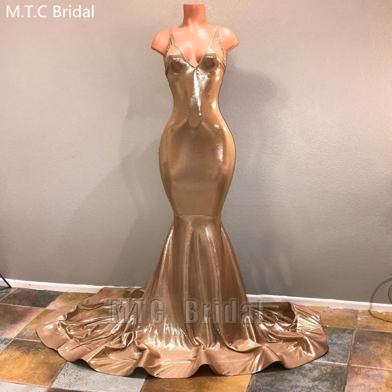 Shiny Champagne Gold Mermaid African Prom Dresses Long Backless Spaghetti Straps Black Girl Sexy Graduation Party Gowns Evening