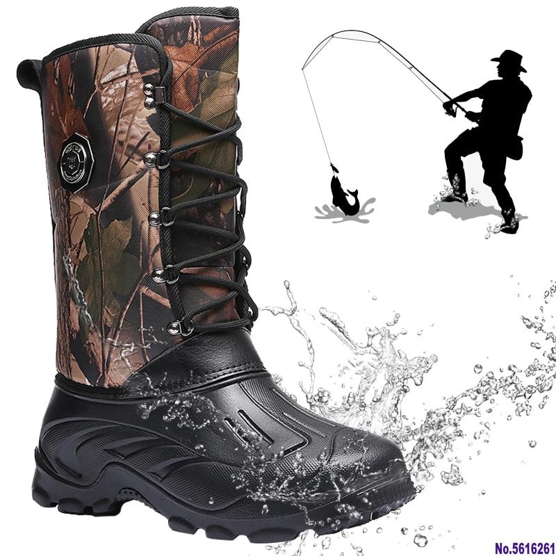 Fishing Boots Men Outdoor Camping Shoes Waterproof Hunting Boots Hiking Men Tactics Climbing Non-slip Thermal Shoes Men Fishing Strengthening Sinews And Bones