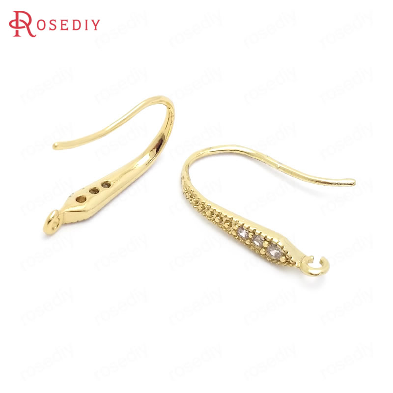 (37849)10PCS Height 19MM 24K Gold Color Brass And Zircon Earrings Hooks Jewelry Making Supplies Diy Findings Accessories