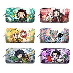 Image 1 - Kimetsu No Yaiba Demon Slayer Kamado Tanjirou Nezuko Cosplay Pen Pencil Case Cosmetic Makeup stationery Bag Gift
