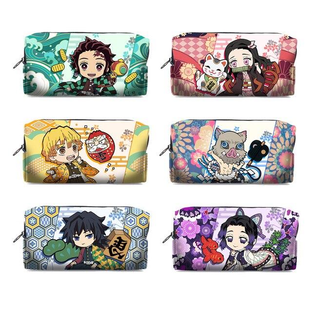 Kimetsu No Yaiba Demon Slayer Kamado Tanjirou Nezuko Cosplay Pen Pencil Case Cosmetic Makeup stationery Bag Gift