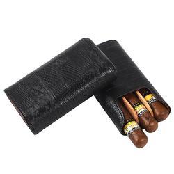 GALINER, humidificateur à cigares en bois de cèdre et cuir avec 3 Tubes de transport, boîte Portable pour cigares COHIBA